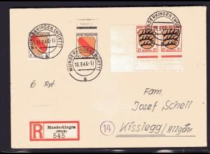 Fr.-Zone, All.-Ausgabe, R-Brief mit Mi.-Nr. 4, 8, 10 + Gebühr bezahlt.