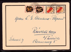 Fr.-Zone, All.-Ausgabe, Ausland-Brief mit Mi.-Nr. 2, 6, 10