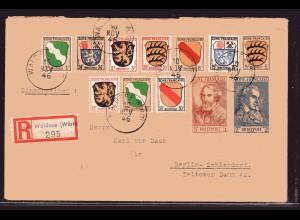 Fr.-Zone, All.-Ausgabe, R-Brief mit Mi.-Nr. 1-10, 12, 13.