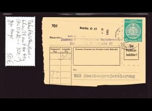 DDR, Paketkartenauschnitt mit 4x Mi.-Nr. D. 41 y