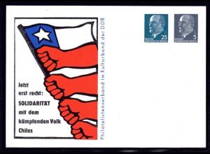 DDR, Privat-Ganzsache Solidarität mit Chile ungebraucht.